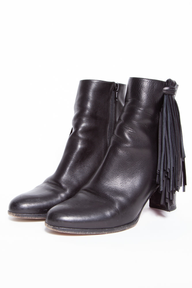 Christian Louboutin NEW PRICE (WAS $480) - BLACK LEATHER FRINGE BOOTS