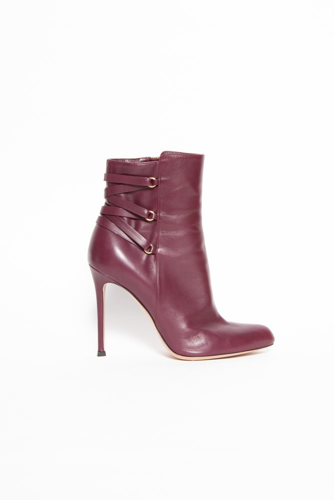 Gianvito Rossi NEW PRICE (WAS $280) - BURGUNDY FRINGED LEATHER HIGH HEEL BOOTIES