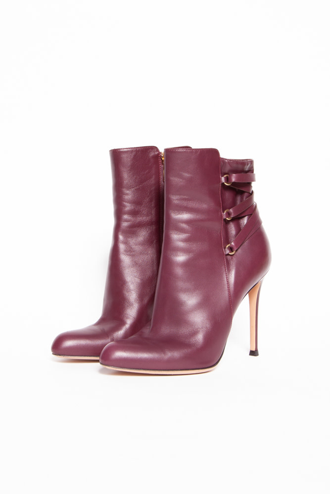 Gianvito Rossi BURGUNDY FRINGED LEATHER HIGH HEEL BOOTIES