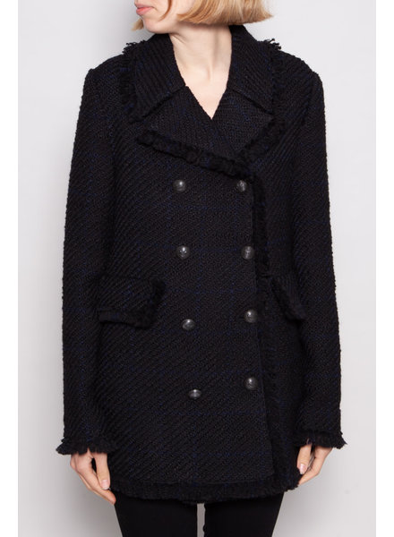 Pinko BLACK AND BLUE TWEED DOUBLE-BREASTED COAT