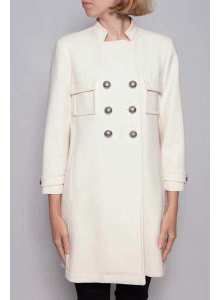 Gucci DOUBLE BREASTED OFF-WHITE WOOL COAT WITH SILVER BUTTONS
