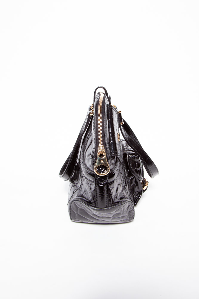 Alexander McQueen NEW PRICE (WAS $740) - FAUX CROC EMBOSSED FLAPPER PATENT LEATHER HANDBAG