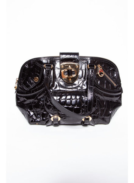 Alexander McQueen FAUX CROC EMBOSSED FLAPPER PATENT LEATHER HANDBAG