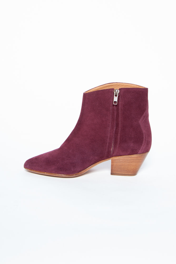 Isabel Marant DACKEN BURGUNDY ANKLE BOOTS