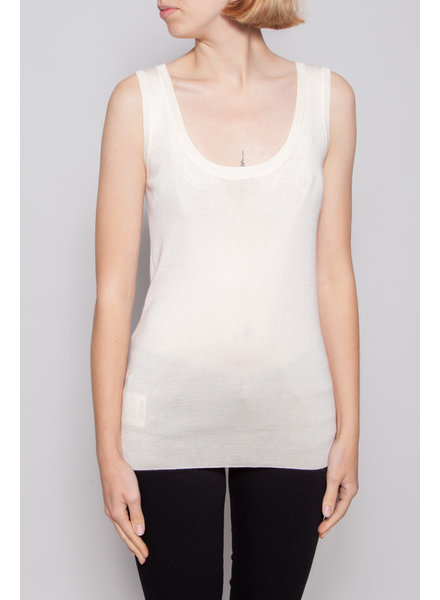 Prada OFF-WHITE SILK AND CASHMERE TOP