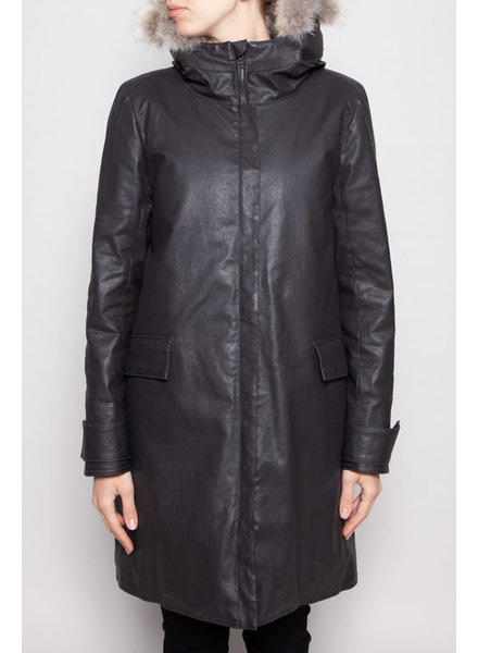 M0851 NEW PRICE (WAS $320) - GREY CHARCOAL COAT WITH FUR HOOD