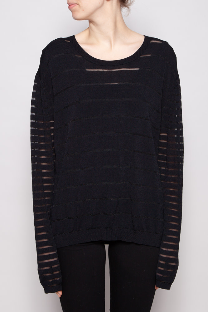 Tiger of Sweden BLACK SEE-THROUGH STRIPED SWEATER