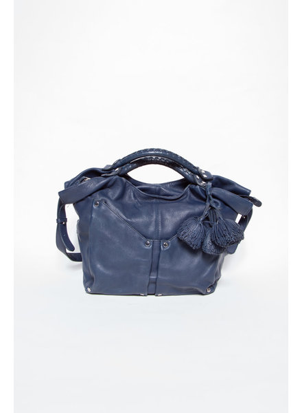 Sonia Rykiel BLUE LEATHER BAG WITH TASSELS