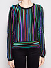 Diane von Furstenberg BLACK TOP WITH COLORFUL STRIPES