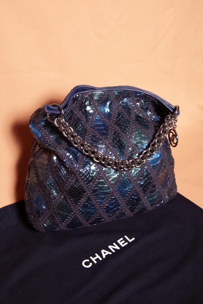 "Chanel BLUE AND GREEN PYTHON HANDBAG ""SLOUCHY HOBO TOTE LARGE"""