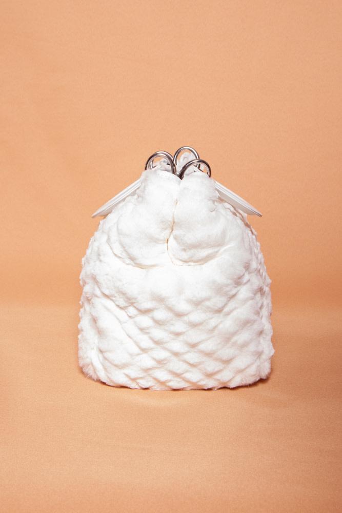 "Dior OFF-WHITE HANDBAG IN RABBIT FUR ""LADY DIOR"""