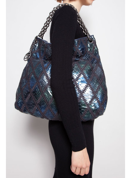 """Chanel NEW PRICE (WAS $2990) - BLUE AND GREEN PYTHON HANDBAG """"SLOUCHY HOBO TOTE LARGE"""""""