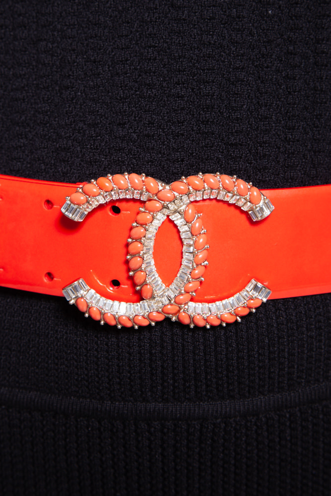 Chanel RED CORAL BELT WITH CC BUCKLE