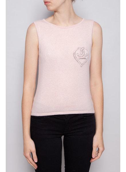 Chanel HAUT SANS MANCHES ROSE EN CACHEMIRE