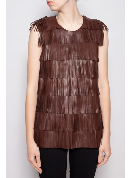 Prada BROWN LEATHER FRINGE TOP