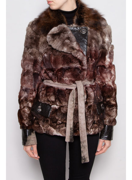 Christian Dior BROWN AND BEIGE FUR JACKET WITH LEATHER BELT
