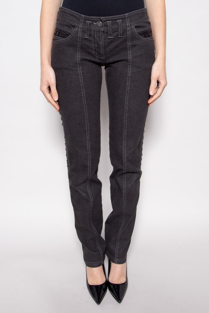 Christian Dior  BLACK DENIM PANTS WITH LEATHER BRAIDS ON THE SIDE