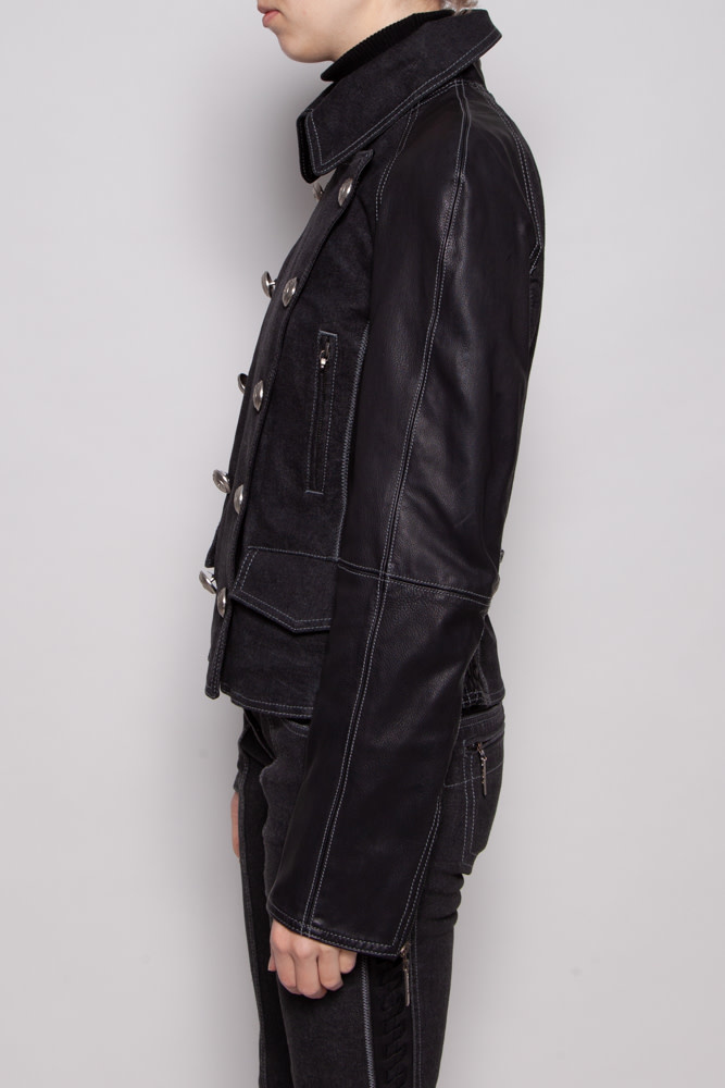 Christian Dior BLACK BI-MATERIAL JACKET IN LEATHER AND JEANS WITH SILVER BUTTONS
