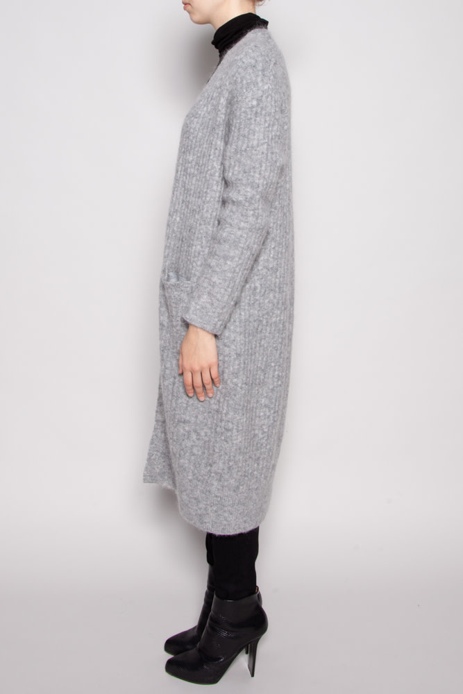 Tiger of Sweden LONG GRAY MOHAIR AND WOOL CARDIGAN