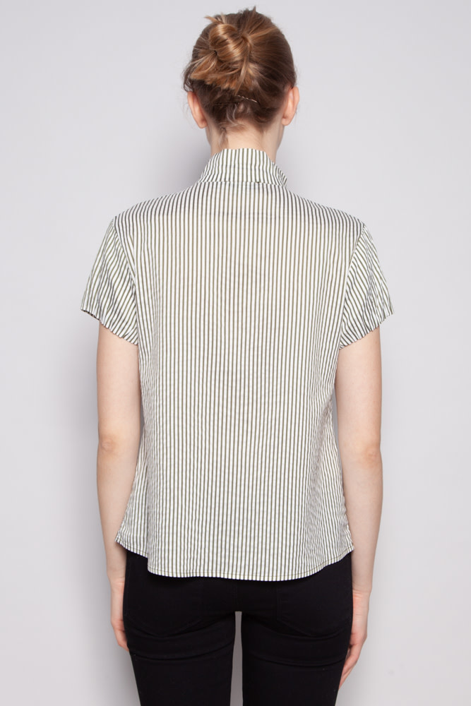 Moschino Jeans WHITE AND GREEN STRIPED SHIRT