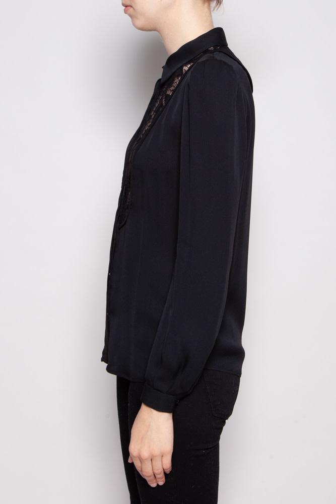 Diane von Furstenberg BLACK BLOUSE WITH LACE COLLAR