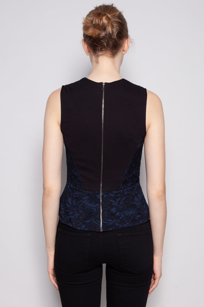 Judith & Charles BLACK AND BLUE TOP WITH DOLLY LACE