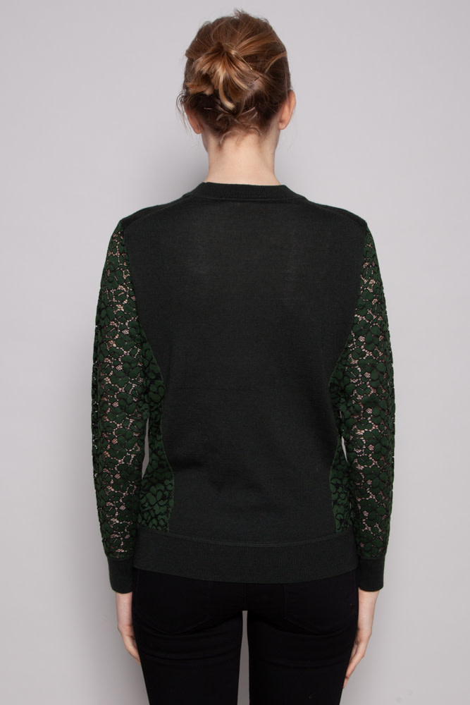 Tory Burch FOREST GREEN WOOL TOP
