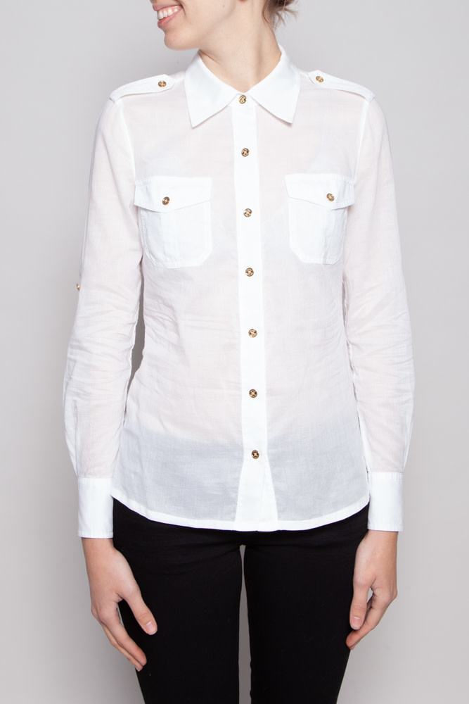 Tory Burch OFF-WHITE COTTON BLOUSE