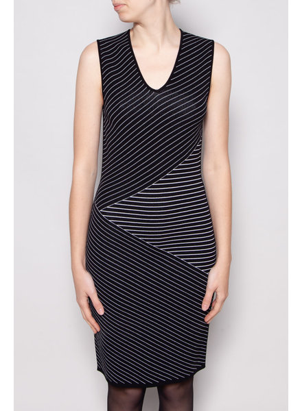 Judith & Charles NEW PRICE (WAS $110) - BLACK SLEEVELESS DRESS WITH WHITE STRIPES