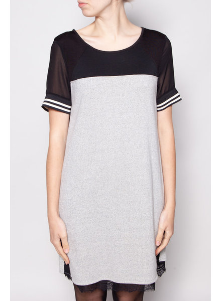 Maison Scotch GREY AND BLACK DRESS WITH LACE DETAIL