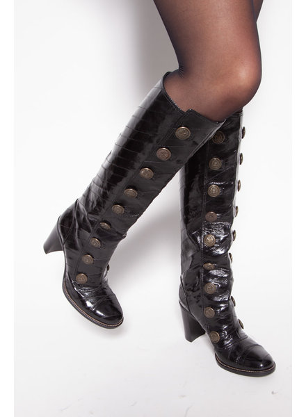 Dolce & Gabbana NEW PRICE (WAS $650) - BLACK PATENT LEATHER BUTTONED BOOTS