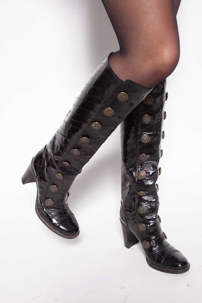 Dolce & Gabbana BLACK PATENT LEATHER BUTTONED BOOTS