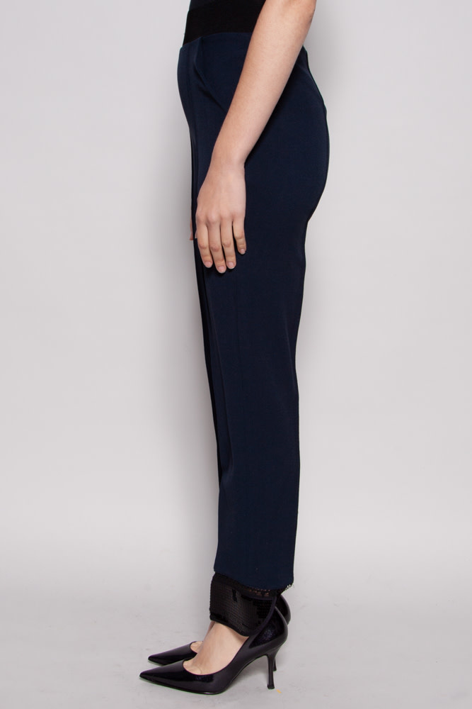 Denis Gagnon DARK BLUE TROUSERS WITH SEQUINED ANKLE