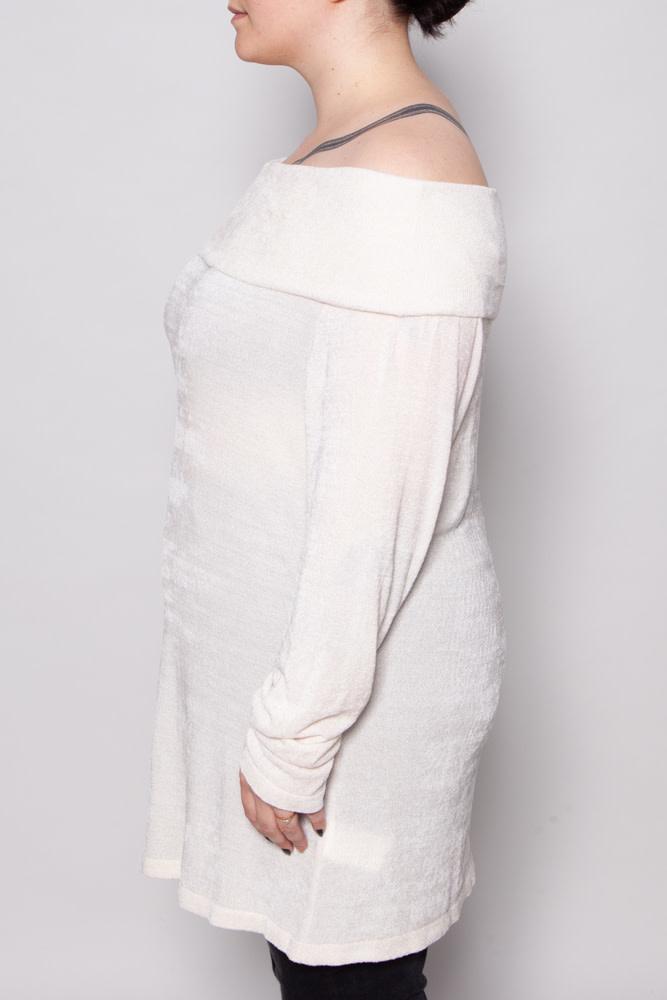 Marina Rinaldi OFF-WHITE OVER-THE-SHOULDER SWEATER - NEW