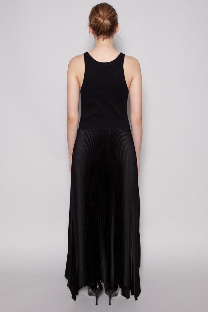 Theory BLACK LONG PLEATED DRESS