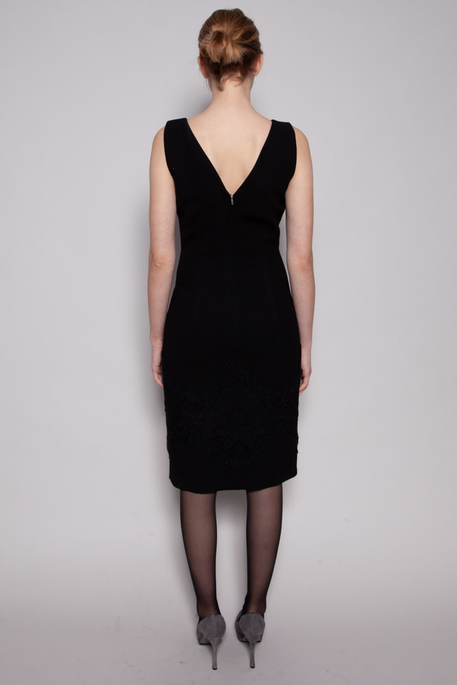Dolce & Gabbana BLACK WOOL DRESS WITH LACE DETAILS