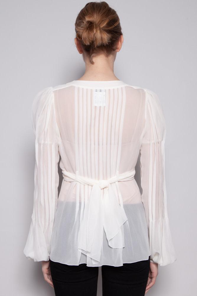Chanel WHITE SILK BLOUSE
