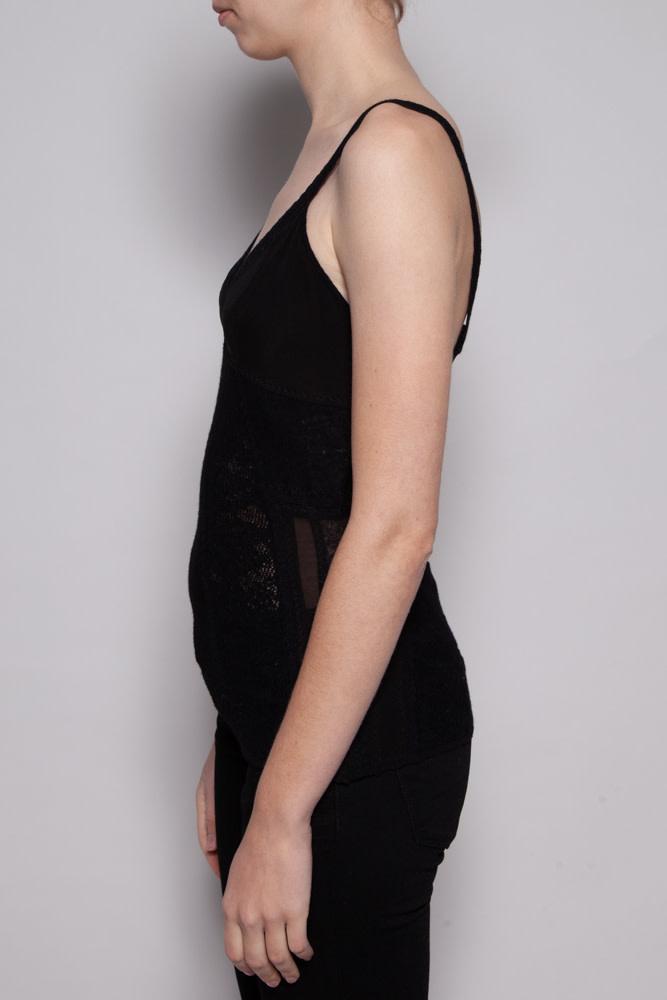 Christian Dior BLACK MERINOS WOOL LACE TOP