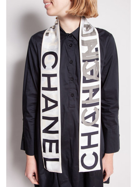 Chanel BLACK, WHITE AND GRAY SILK SCARF WITH CHANEL PRINT
