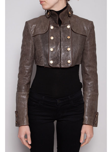Dolce & Gabbana TAUPE CROPPED LEATHER JACKET