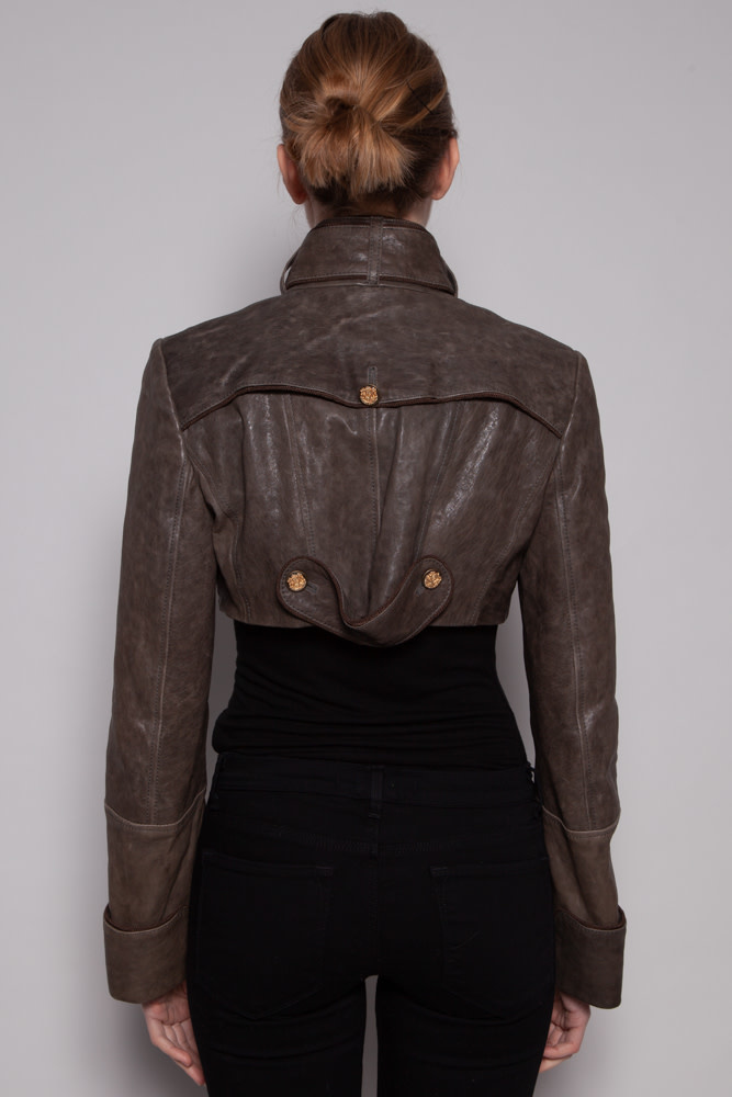 Dolce & Gabbana NEW PRICE (WAS $695) - TAUPE CROPPED LEATHER JACKET