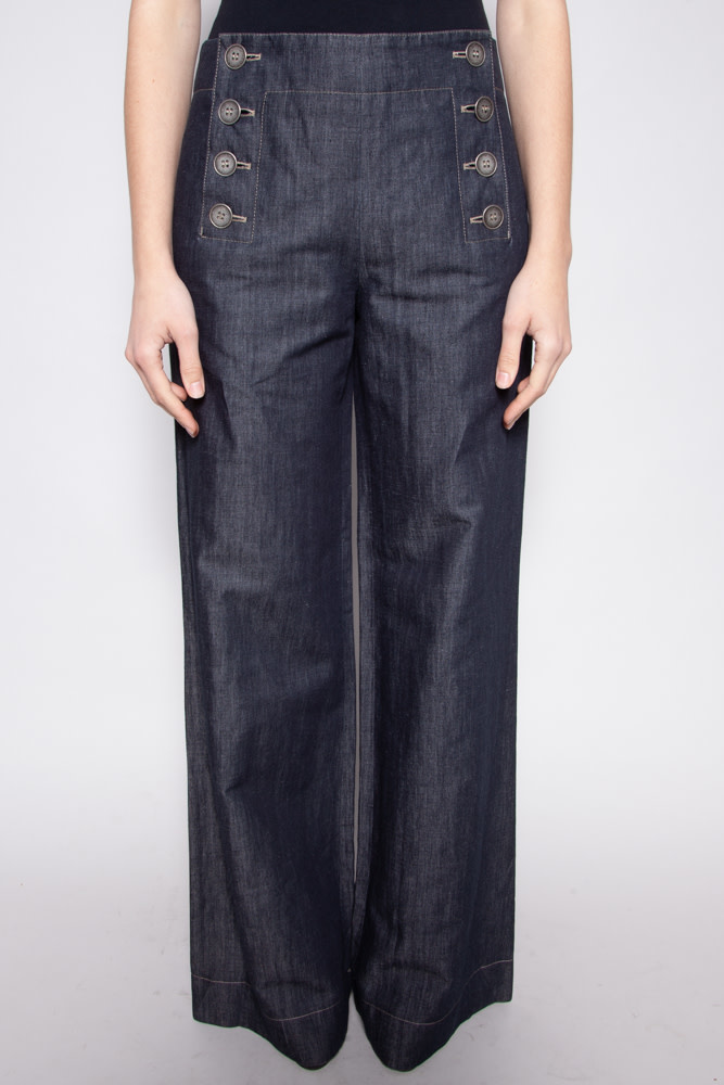 Jean Paul Gaultier CHAMBRAY FLARED PANTS