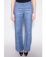 Chanel BLUE SILK FLARED PANTS