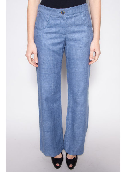 Chanel BLUE SILK FLARED PANTS