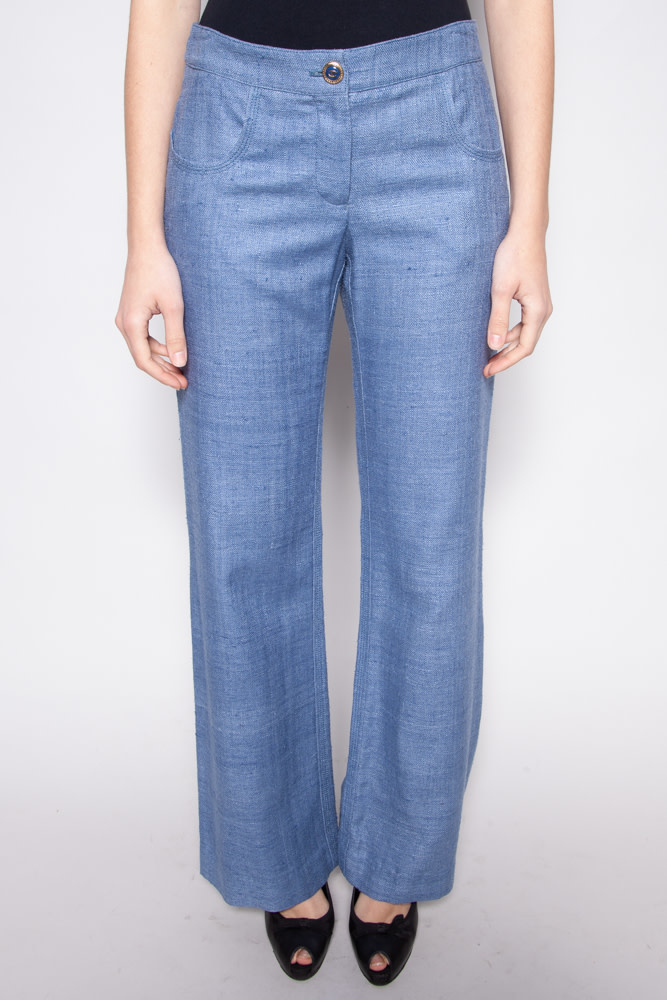 Chanel NEW PRICE (WAS $520) - BLUE SILK FLARED PANTS