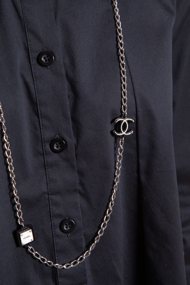 Chanel SILVER NECKLACE WITH BLACK CHARMS