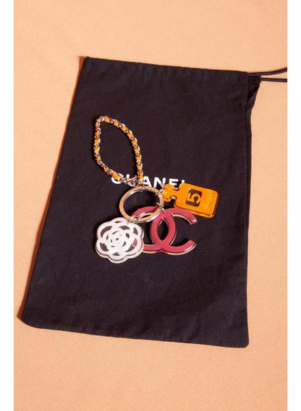 Chanel PORTE-CLÉS À BRELOQUES EN RÉSINE ROSE ET ORANGE