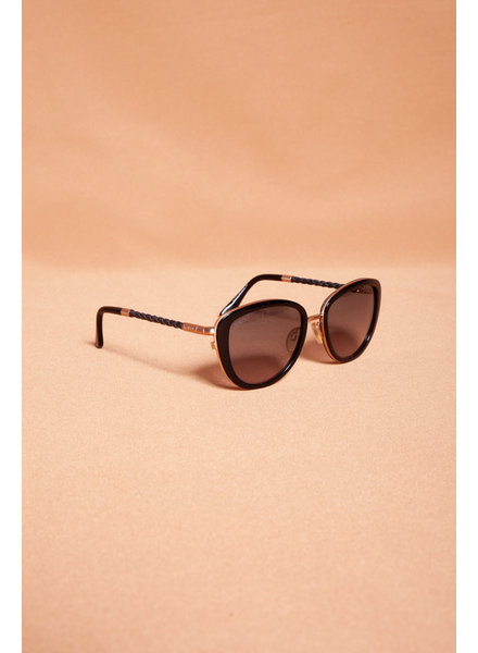 TOD'S BLACK AND ROSE GOLD SUNGLASSES