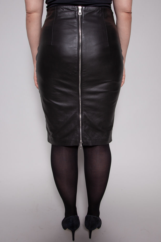 SET ZIPPERED LEATHER SKIRT