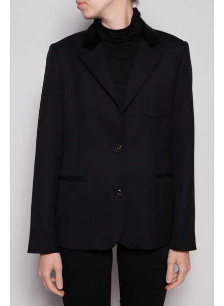 A.P.C. BLACK JACKET WITH VELVET COLLAR